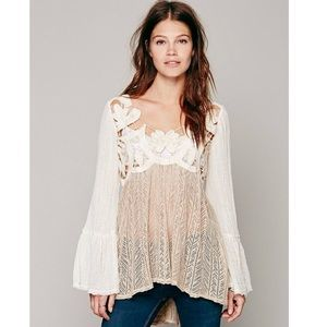 Free People Cutwork Pieced Tunic in Natural